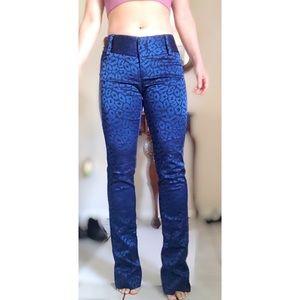 Blue cheetah print bootcut pants women's size 2